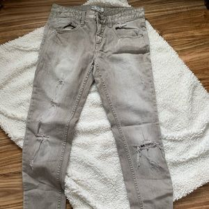 Free People Distressed Gray Straight Leg Denim 28